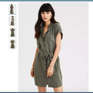 American Eagle Olive Button Down Shirt Dress